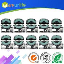 2019 formatador hp 10 pçs / lote fita cassete compatível para LW-300 LW-400 LW-600P impressora LW-700 LC-4WBN9 (18 mm x 8 m, preto no branco)