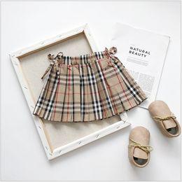 Retail Kids Luxury Designer Clothes Girls Bow Plaid Skirts Classic Preppy Princess Dress Pleated Skirt Children Summer Clothing nereden tutu girls naylon şifon tedarikçiler