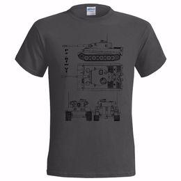 camisa do tanque do tigre Desconto Mangas curtas de verão Fashiont Pz.Bfw VI tanque pesado BLUEPRINT MENS T SHIRT THUNDER GUERRA JOGO TIGRE II PANZER Camiseta