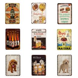 Metall wand kunst dekor hängen online-Zeichen Hunde Metall Bier Tierblechschild Jahrgang Platten für Wand-Kunst-Katze-Hund Retro Home Decor 30x20cm Hanging Aufkleber Katze Blechschild
