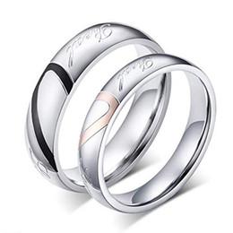 Corações valentim on-line-Homens das Mulheres do Amor Real Coração de Aço Inoxidável Anel Banda Valentine Love Couples Wedding Engagement Promise Anel