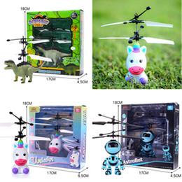 2019 rc mini helicóptero envío gratis Dibujos animados LED RC de vuelo del juguete de la noche luminosa unicornio dinosaurio robot de infrarrojos de aeronaves para niños juguetes electrónicos a distancia ToysE1304 helicóptero de control