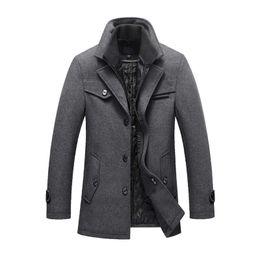 2019 chaqueta casual de lana para hombre 2019 Envío de la gota Nuevo abrigo de lana de invierno Slim Fit Chaquetas Casual para hombre Ropa de abrigo y abrigo Chaqueta Hombre Guisante talla M-4XL chaqueta casual de lana para hombre baratos