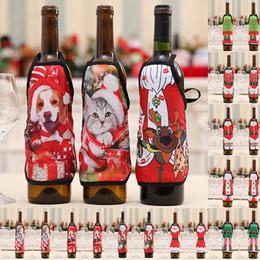 bottiglia di ragazza sexy Sconti 2Pcs Natale Bottiglia di vino Grembiule Copri vestiti Decorazioni per la tavola di Natale Babbo Natale Ragazze sexy Decor per bottiglie di vino Articoli per feste fetali