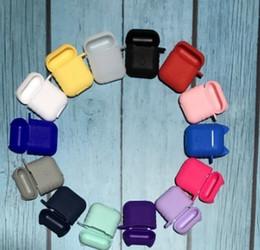 Maçã caixa azul on-line-Silicone tpu case para apple airpods sem fio azul fone de ouvido caixa de toque macio anti-lost caixa de proteção
