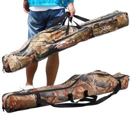 2019 zaino da pesca della tela di canapa Borsa da pesca Sougayilang 130cm Camouflage Doppio Strato Impermeabile Fishing Tackle Bag Canvas Backpack # 636101 sconti zaino da pesca della tela di canapa