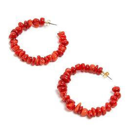 Brincos turquesa rodada on-line-Moda Estilo étnico Mulheres Faux Turquoise Round Hoop Earrings Banquete de festa de jóias
