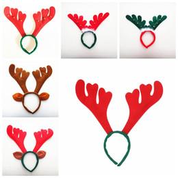 Decorações bonitos da festa de anos on-line-Fofa Natal Antler Hair Bands Vermelho Não Tecido Headband Do Feriado Do Partido Do Aniversário Suprimentos de Natal Casa Decorações TTA1651