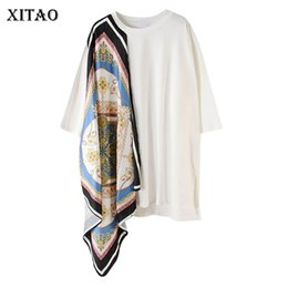 tees korea women Promo Codes - [XITAO] 2019 Summer Korea Fashion New O-neck Half Sleeve Pullover Tee Female Patchwork Print Pattern Irregular T-shirt ZQ1437