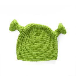 1593d2a2f06 Shrek Funny Beanie Knit Hat Green Monster Weave Artifact Manual With Ears  Halloween Gift Winter 12xz F1 men ear tops on sale
