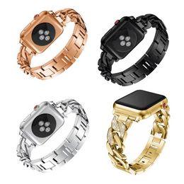 Rhinestone reloj bandas online-Rhinestone Diamond Women Watch Pulsera para Apple Watch Band Serie 1/2/3 Correa de acero inoxidable redonda para iWatch 38mm 42mm