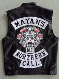 terno preto da marinha sob medida Desconto Mayans mc motocicleta punk locomotiva couro pu colete preto homens moda clothing casaco preto