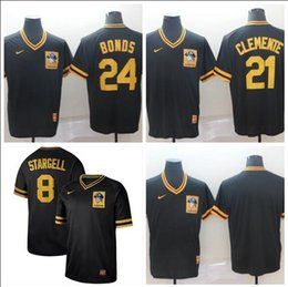 732818ea8 2019 Men Women Youth Pirates 21 Clemente 24 Bonds 8 Stargell Black Yellow  Retro Cooperstown Batting Practice Baseball Jersey s-3xl
