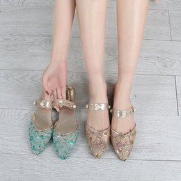 bling pointed toe flats Coupons - Women Sandals Bling Traditional Embroidery Sequins Mesh Shoes Pearl Pointed Toe Casual Flat Mules Slip On daily walking casual