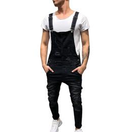macaco jeans Desconto 2019 Moda Mens Jeans Rasgado Macacões Rua Afligido Buraco Denim Bib Macacão Para Homem Suspender Calças Tamanho M-XXL