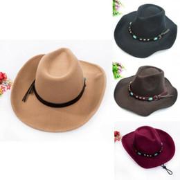 fasce di piume Sconti Cappello da donna da uomo in lana massiccia con cappello da cowboy in lana occidentale con fascia a tesa larga