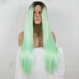 raíces de estilo Rebajas Nuevo estilo Ombre Mint Green Pelo sintético Long Roots Dark to Pastel Green Lace Front Pelucas Atado a mano Sedoso Recto Mujer Cosplay Party Hair