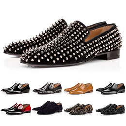 green wedge wedding shoes Coupons - Drop shipping Luxury Bottom Designer Red Bottoms Studded Spikes Brand Mens Dress Shoes Leather Men Party Wedding Lover sports sneakers 39-47