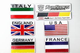 2019 emblèmes italiens Autocollants Royaume-Uni / USA / France / Italie / Allemagne / Russe / Grèce / Espagne / Drapeau Logo Emblèmes Stickers Décalques Pour Maison Voiture Moto Décoration emblèmes italiens pas cher