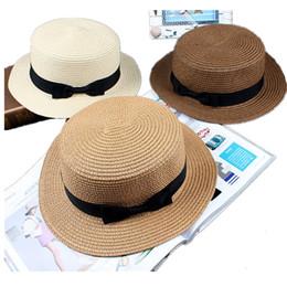 2019 green fedoras Новые летние женщины с плоским верхом лук соломенная шляпа солнца широкая кепка для женщин леди пляж сплошной панама шляпа женский