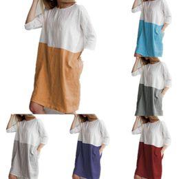 manga comprida camisa blusa comprimento do joelho Desconto Mulheres de Linho de Algodão Blusa Vestido Patchwork Cor Camisa de Manga Longa Solta Vestidos Com Bolso Na Altura Do Joelho Oversized Lazer T shirt Top C43001