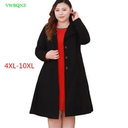 Manteaux d'hiver femme extra long en Ligne-Code extra large femmes manteau de laine hiver nouvelle coréenne longue manteaux de laine femmes haute qualité noir plus taille pardessus 4XL-10XL A1048