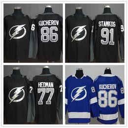 jogador de hockey Desconto Tampa Bay Lightning # 86 Nikita Kucherov # 91 Steven Stamkos # 77 Victor Hedman Preto Azul Branco Jogador Hockey Camisolas Logotipos Costurados