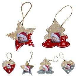 Noel Ağacı Dekor Asılı Ahşap Resim Çerçevesi Halat Ile Yaratıcı Noel Ağacı Asılı Kalp Yıldız Ağacı Tasarım Süsler cheap wooden framed pictures nereden ahşap çerçeveli resimler tedarikçiler