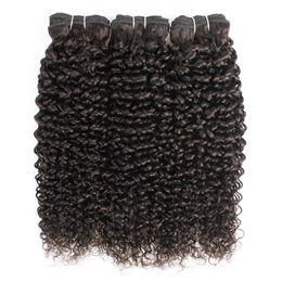 Cabelo brasileiro tece estilo on-line-Natural Color 3 Pacotes Jerry Curly extensões do cabelo afro Estilo peruana brasileira Malásia indiana Virgin Weave do cabelo humano
