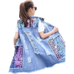 Lantejoulas de grandes dimensões on-line-Bust (100-130cm) Além disso Jacket Tamanho mangas Verão Oversized Denim Vest Mulheres Sequin Namorado Ripped Jeans Vest longo Colete