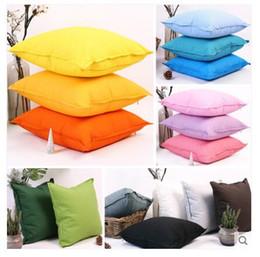 Travesseiros cinza verde on-line-Cor sólida tecido de algodão capa de almofada fronha decorativa throw pillow cover backrest amarelo / verde / azul / roxo / cinza / laranja .. fronha