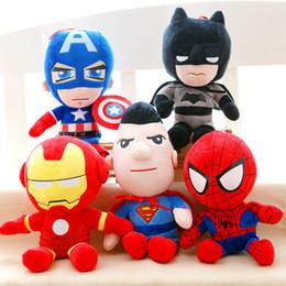 Boneca de pelúcia on-line-presente do bebê [top] 5pcs / lot The Avengers Super Heroes Plush Toys 30 centímetros Thor Spider-man batman Capitão América Homem de Ferro Plush Dolls