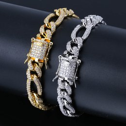 lock bracelets Coupons - Hip Hop Jewelry Buttons Men's Miami Cuban Bracelet Zircon-inlaid gold-plated Hip-hop Iron lock-style Bracelet Hot