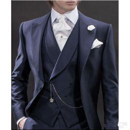 Yeni Tasarım Sabah tarzı Lacivert Damat Smokin Groomsmen erkek Düğün Takımları İyi erkek Takımları (Ceket + Pantolon + Yelek + Kravat) XF231 supplier navy blue morning suit wedding nereden lacivertli sabah kıyafeti düğün tedarikçiler