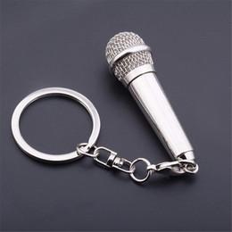 2019 micrófono de cadena Charm Música Micrófono Llavero de voz Llaveros de metal Cantante Rapper Rock Llavero Mujer Hombre Monedero Bolso Colgante Llaveros del coche Regalo M173F micrófono de cadena baratos