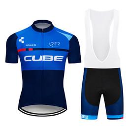 Bicicletta bicchierini cubo online-Vendita diretta della fabbrica Uomo Cycling Jersey Set Ropa De Ciclismo Estate CUBE Manica Corta Mountain Bike Abbigliamento Uniformi Sportive Suit Y011103