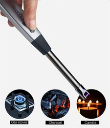 electronics fireworks Promo Codes - Electric Rechargeable USB Kitchen BBQ Long Igniter Windproof Pulse Arc Lighter For Candles and Fireworks free shipping
