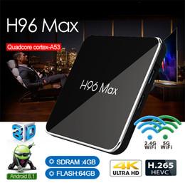 2019 nouveau lecteur multimédia Nouveau lecteur multimédia H96MAX android8.1 4 Go 64 Go Amlogic S905X2 Smart TV BOX soutien 2.4G /5.8G WIFI Bluetooth 4.0 android tv box nouveau lecteur multimédia pas cher