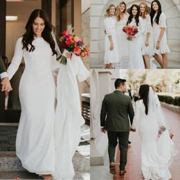 Manga crepe vestido de casamento on-line-2019 Boho Estilo Country Crepe Sereia Vestidos De Casamento Mangas Compridas Elegante País Ocidental Modest Cheap Vestidos De Noiva Custom Made