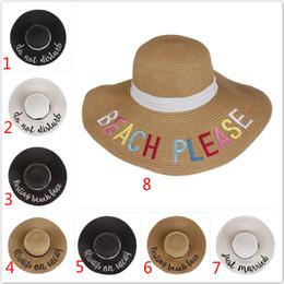 Playa POR FAVOR, Mujeres Sombrero de paja Sombreros de Playa Carta de Moda Bordado Flash Lafite Sombrero para el Sol Transpirable Verano Sombreros de Ala Ancha desde fabricantes