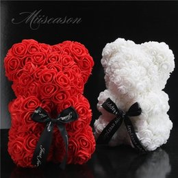 25cm Bear Of Roses Flowers Teddy Bear With Crown Wedding Festival Diy Surprise Wedding Gift For Girl Lover Home & Garden