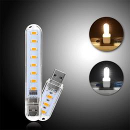 2019 mini leds lumières La mini lumière d'USB LED allume la lumière chaude / blanche de 8 Leds SMD 5730 pour la lampe de nuit de banque de puissance de bureau d'ordinateur portable de PC mini leds lumières pas cher