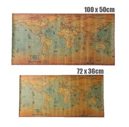 2019 pitture mondiali Mappa del mondo del mare oceano nautico Retro Old Art Paper Pittura Home Decor Sticker Soggiorno Poster Cafe Antique Poster Art Crafts pitture mondiali economici