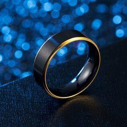 Gebürstete ringe online-Regenbogen Gold Side Brush Ring schwarz Edelstahl Ehering Band Ringe Modeschmuck für Frauen Männer Geschenk Will und Sandy DropShip 080464