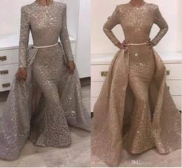 Deutschland 2019 Meerjungfrau Abendkleider Jewel Long Sleeve Einzigartiges Design Abendkleider Spitze Mit Pailletten Perlen Kristalle Formale Abendkleider Versorgung