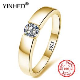 Anello di fidanzamento 6.5 online-100% puro argento 925 anelli d'oro solitario CZ anelli di fidanzamento di fidanzamento per le donne e gli uomini taglia 5-13 ZR514