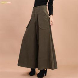 legging saia mais tamanho Desconto Calças além de verão mulheres perna larga vestido tamanho vintage feminino casual sólida saia calças soltas 50 s capris culottes bolso zy3365