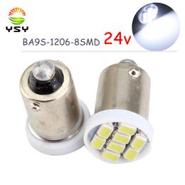 2020 luz de lectura led 24v YSY 50PCS BA9S 1206 8SMD 24V T11 T4W Bombilla de luz LED Liquidación inversa luz indicadora de lámparas de lectura blanca rebajas luz de lectura led 24v