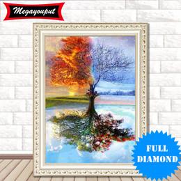 5d diamond painting trees Rebajas DIY 5D Diamante Kits de Pintura Bordado Four Seasons Árbol kits de punto de Cruz salón patrón de mosaico Decoración Del Hogar BI26