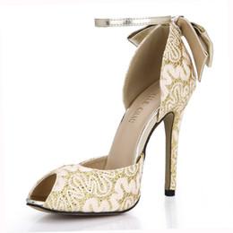Orteils orteils en Ligne-Or Sexy Élégant Partie De Mariée Chaussures Femmes Peep Toe Stiletto Talons Hauts Noeud Papillon Pompes Zapatos Mujer 0640C-k4
